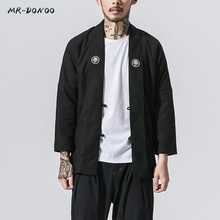MRDONOO Fall male Chinese wind plate buckle embroidered cotton linen long section windbreaker Chinese long sleeves cheap Trench Full STANDARD Polyester Casual V-Neck Broadcloth Single Breasted REGULAR Embroidery Solid NONE MR-DONOO B375-JK13