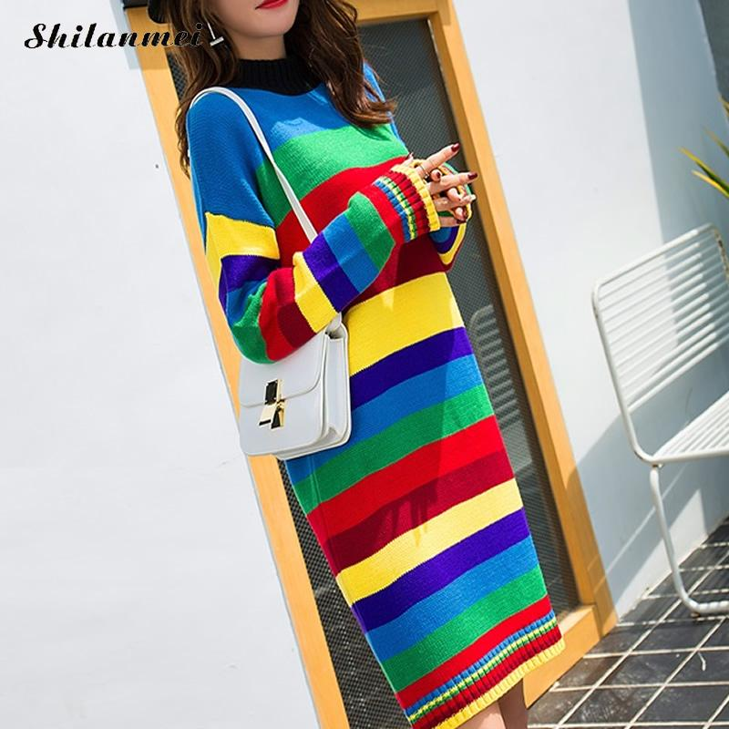 Autumn Winter Women Sweater striped Dress 2017 Long Sleeve Rainbow Color Block knitted Dress causal Long Pullover Jumpers dress