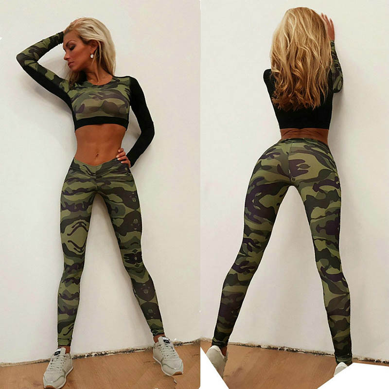 <font><b>Sexy</b></font> Camouflage Pants Clothing Suit Long Sleeve+Leggings Print 2 Piece <font><b>Yoga</b></font> Set <font><b>Fitness</b></font> <font><b>Sport</b></font> Suit Women <font><b>2018</b></font> <font><b>Yoga</b></font> Sportswear image