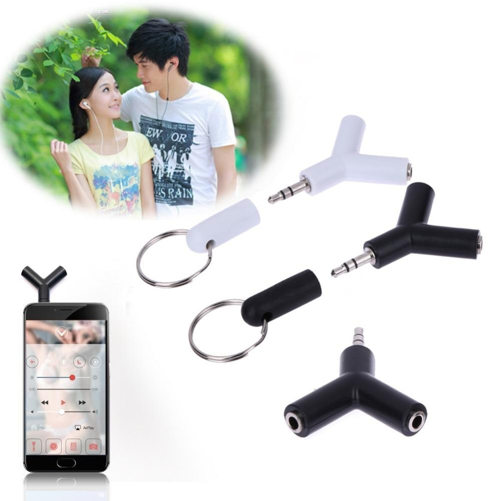 Jack Double Adapter To For MP3 Headphone New White/black Phone Adapter 3.5mm Earphone Splitter Player