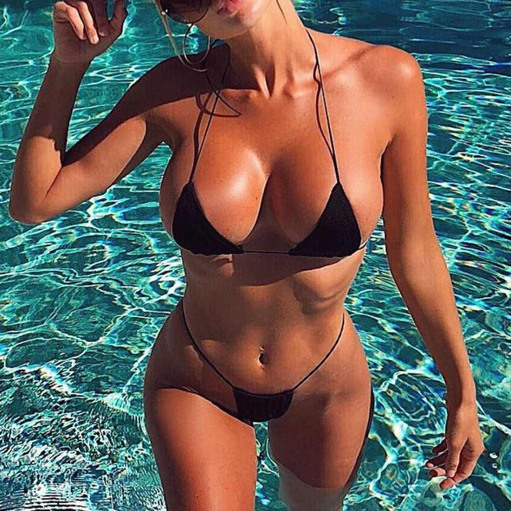 2019 Ribbed Tiny Thong Bikini Female Swimsuit Women Swimwear Two-pieces Bikini set Micro Bather Padded Bathing Suit Swim V945