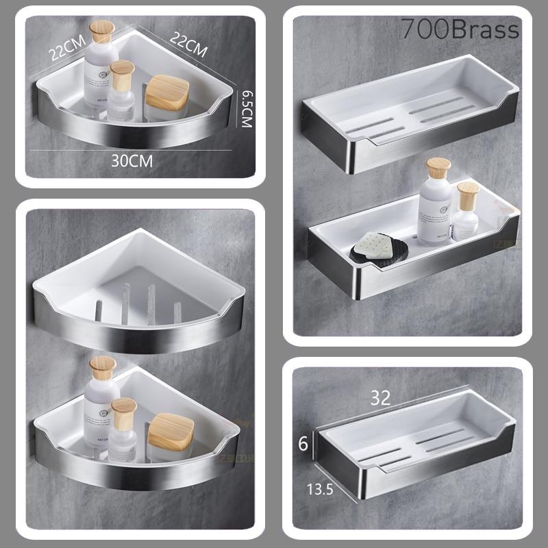Stainless Steel Bathroom Shower Basket For Shampoo / Soap, Kitchen Accessories Storage Organizer, Dill-free Easy Installation