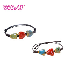 Фотография BCCAT 2pc custom couple Bracelet Handmade ceramic Beads Charm bangle fashion lucky Jewelry wholesale love gift