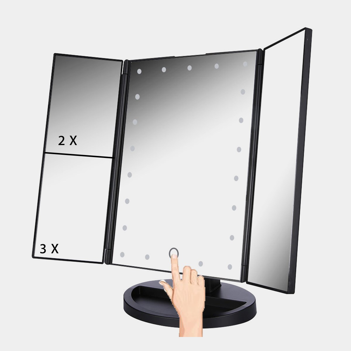 3 folding touch screen makeup led light mirror vanity for Application miroir pc