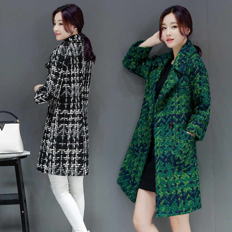 Women coats autumn winter Femme winter wool coat Grid women's jacket plus size Imitation wool jacket Buy a woman's coat BN3927