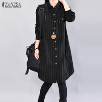 2017 ZANZEA Lapel Neck Long Sleeve Striped Buttons Pockets Shirt Midi Shirt Women Autumn Office Black