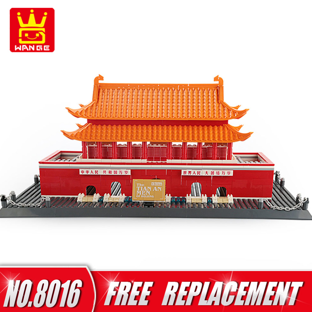 WANGE World Famous Architecture Building Blocks The Tian An Men of China 758pcs Bricks Educational Kids Toys Home Decor NO.8016 world famous architecture 1977pcs wange blocks golden gate bridge model building bricks set diy assembly toys for children 8023