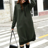 Plus Size 2017 ZANZEA Winter Women Hooded Long Sleeve Long Sweatshirt Dress Casual Split Loose Solid