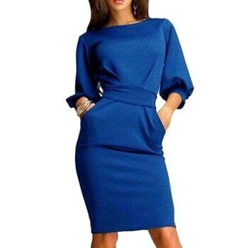 Women Dress 2018 Summer Work Office Half Sleeve Dress 2