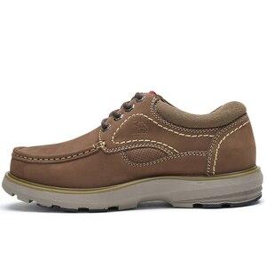 Image 4 - CAMELใหม่ของแท้หนังรองเท้ารองเท้าผู้ชายแฟชั่นกลางแจ้งรองเท้าCowhide Rhubarbรองเท้าManเย็บคุณภาพรองเท้า