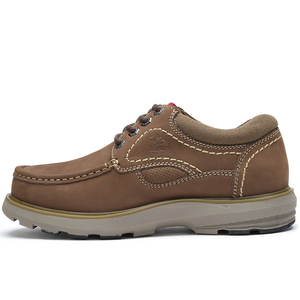 Image 4 - CAMEL New Genuine Leather Mens Shoes Tooling  Fashion Outdoor Casual Shoes Cowhide Rhubarb Shoes Man Stitching Quality Boots