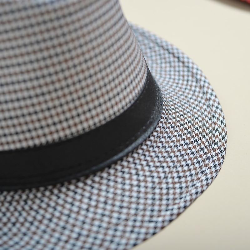 UTB8P3TrxCnEXKJk43Ubq6zLppXau - 2018 England Retro Men's Fedoras Top Jazz Plaid Hat Spring Summer Autumn Bowler Hats Cap Classic Version chapeau Hats