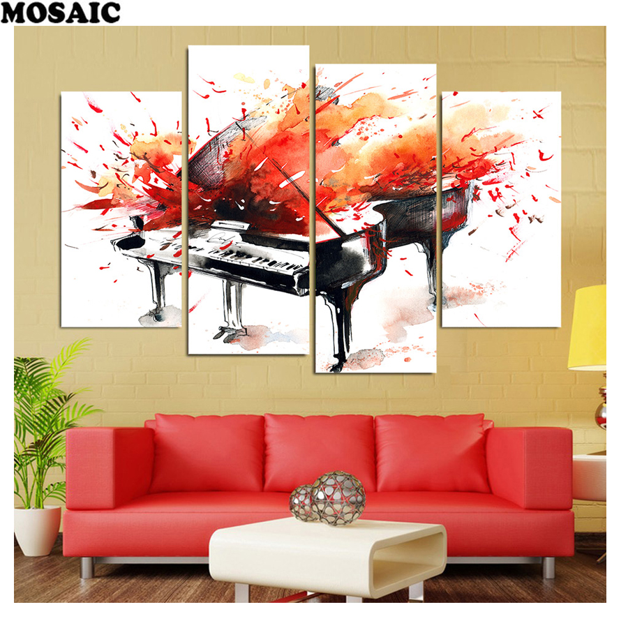 4pcs Diamond Painting,diy Diamond Embroidery Crafts Wedding Decoration,full Square Diamond Mosaic Red Piano Musical Instrument Online Discount