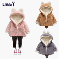 Little J Girls Rabbit Ear Hooded Coat Baby Boys Faux Fur Fleece Jacket Kids Thick Warm
