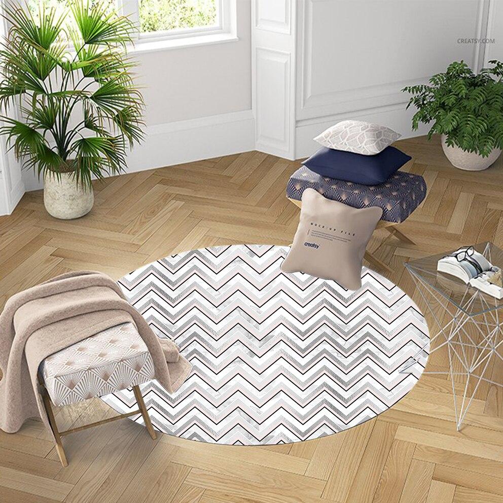 Else Pink Gray White Bias Line Geometric Nordec 3d Pattern Print Anti Slip Back Round Carpets Area Rug For Living Rooms Bathroom