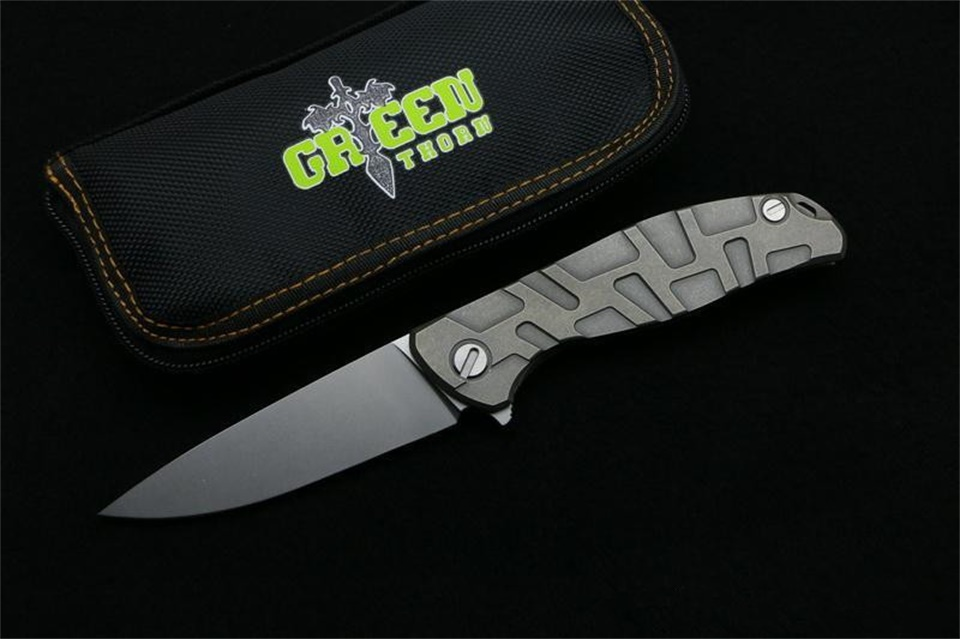 Green thorn F95 Flipper folding knife D2 blade Titanium handle outdoor camping hunting pocket fruit knife