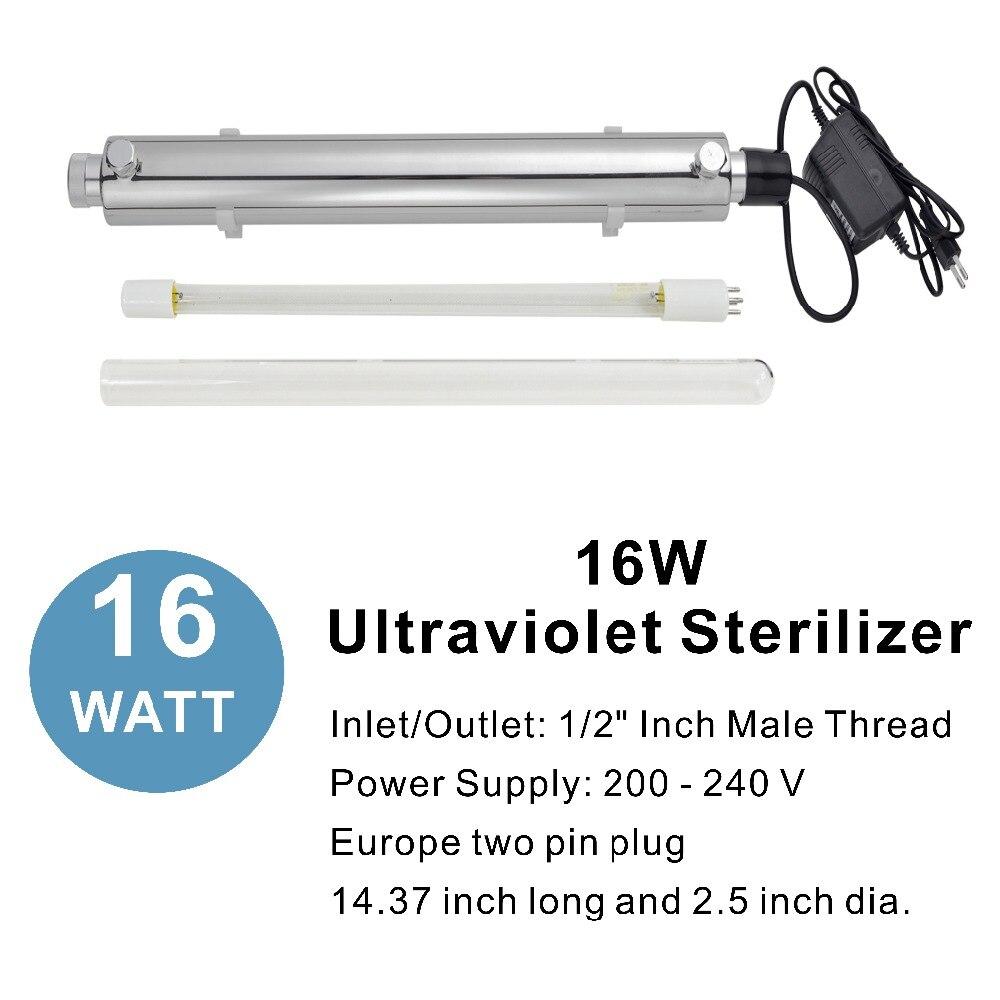 16W Ultraviolet Light Water Purifier Whole House UV Sterilizer 2 GPM anti-bacteria,Power Supply 200 - 240V & Europe Two-pin plug16W Ultraviolet Light Water Purifier Whole House UV Sterilizer 2 GPM anti-bacteria,Power Supply 200 - 240V & Europe Two-pin plug