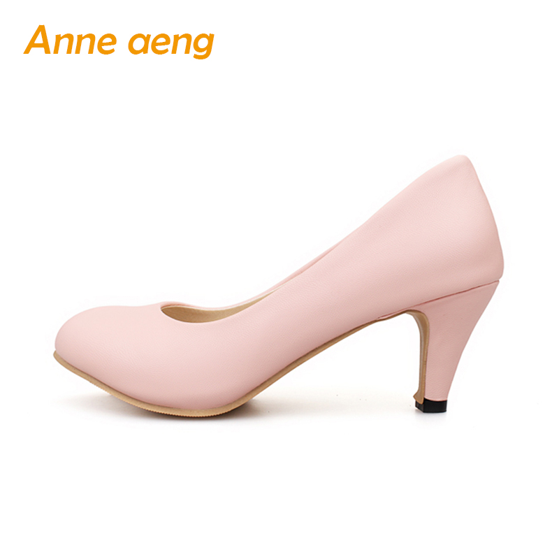 Spring women shoes 6.5cm high thin heel pumps classic sexy elegant office lady pink wedding shoes with round toe black size34-43 new fashion brand spring shoes solid high heel women pumps elegant round toe high quality sexy wedding office lady autumn shoes