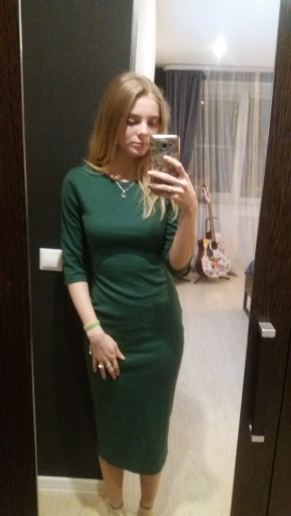 COLROVIE Work Summer Style Women Bodycon Dresses Sexy Casual Green Crew Neck Half Sleeve Midi Dress