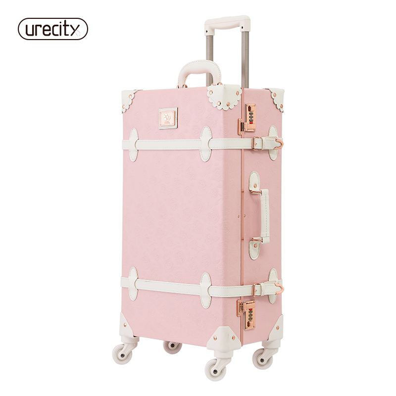 Urecity Drawbars&PU Leather Retro Luggage Suitcase girl lovely candy color travel 2022 24 on wheels children suitcases 20 22 24 26 drawbars