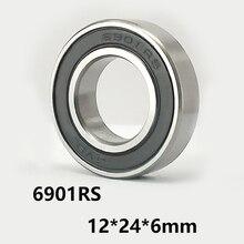 2 шт./лот 6901RS глубокий шаровой подшипник резиновое уплотнение крышки 6901-RS 6901RS 12*24*6 мм 12*24*6 подшипник стальной материал