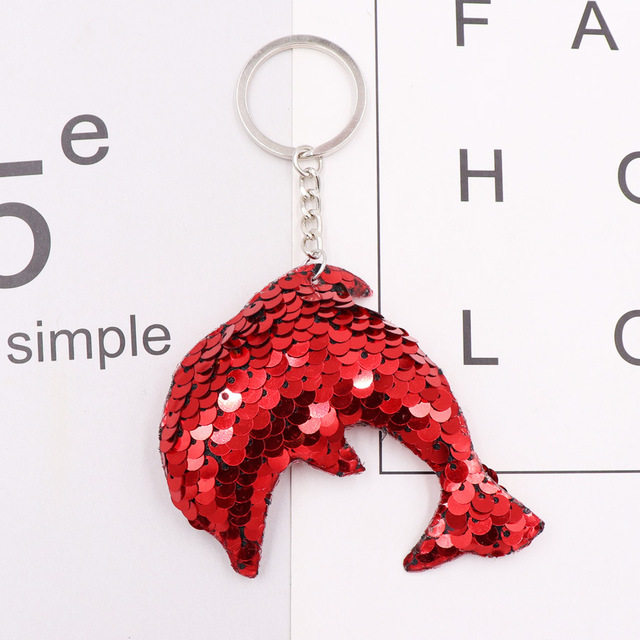 1PCS Dolphin Star Unicorn animal Keychain Glitter Pompom Sequins Key Chain Gifts for Women  Car Bag Accessories Key Ring Jewelry 3