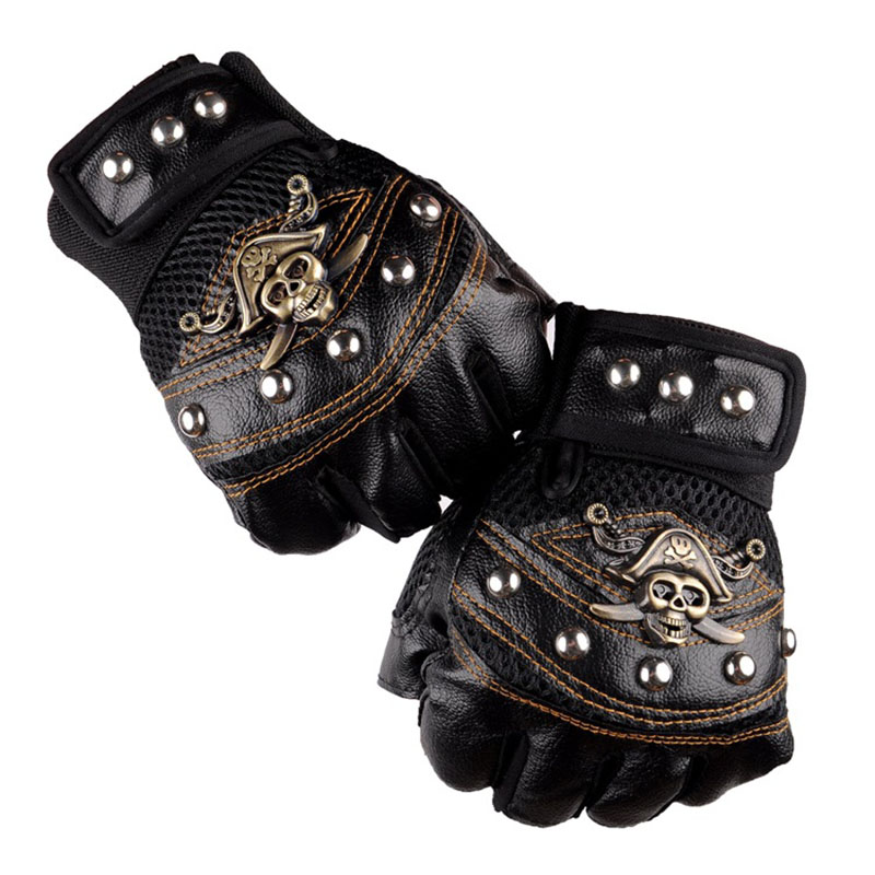3 Colors Fashion Personality Half-Finger Ride Gloves For Men Pirates Of The Caribbean Skull Rivet Breathable Synthetic Leather