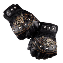 3 Colors Fashion Personality Half-Finger Ride Gloves For Men Pirates Of The Caribbean Skull Rivet Breathable Synthetic Leather цена