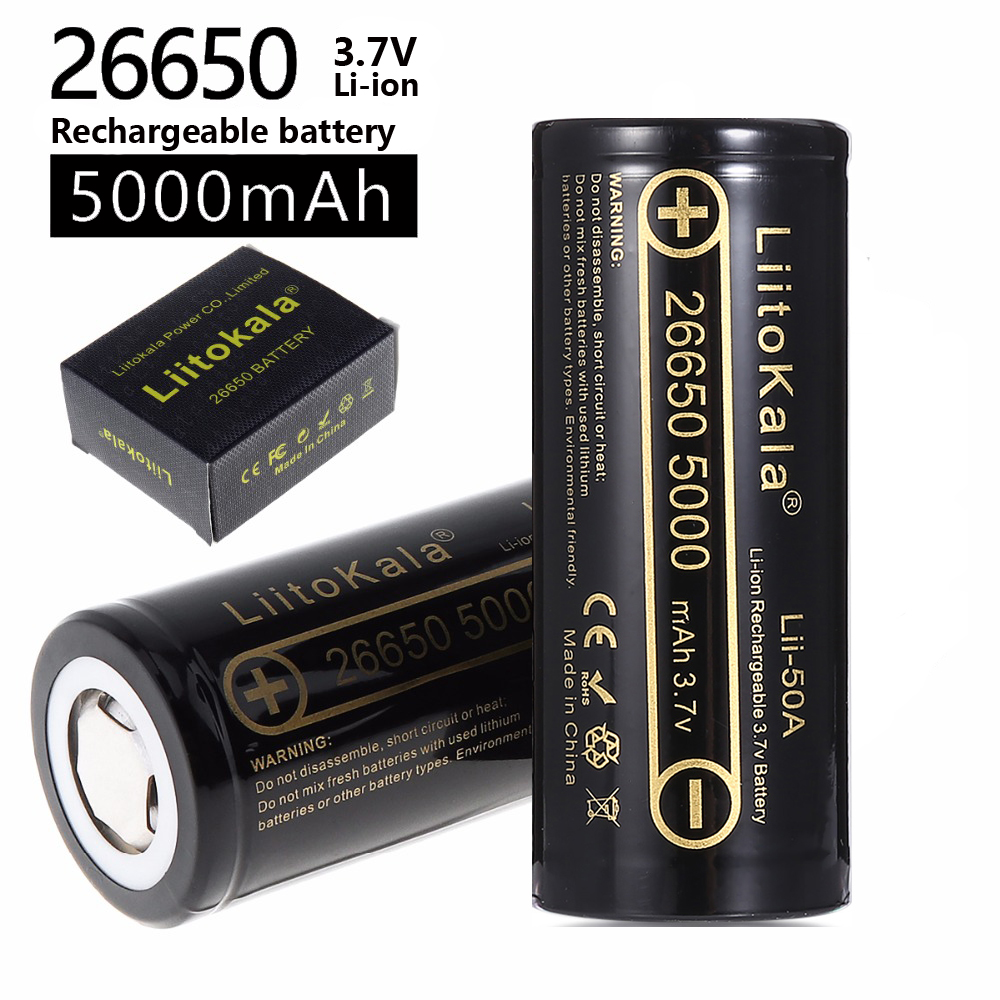 HK LiitoKala lii-50A 26650 5000mah lithium battery 3.7V 5000mAh 26650 rechargeable battery 26650-50A suitable for flashligh NEW(China)
