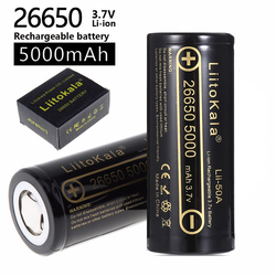 HK Liitokala Lii-50A 26650 5000 MAh Lithium Battery 3.7 V 5000 MAh 26650 Baterai Isi Ulang 26650-50A Cocok untuk Flashligh Baru