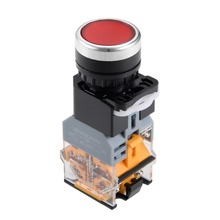 UXCELL 22mm Momentary Push Button Switch Red LED Light Round Flat Button DPST 1 NO 1 NC To Control The Electromagnetic Starter цена и фото