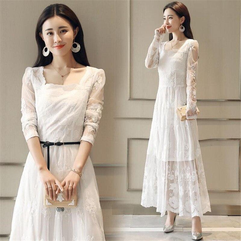 Sexy Crochet dentelle robe 2018 printemps femmes mode manches longues Maxi robes femme élégant soirée fête blanc longue robe CM2508 - 4