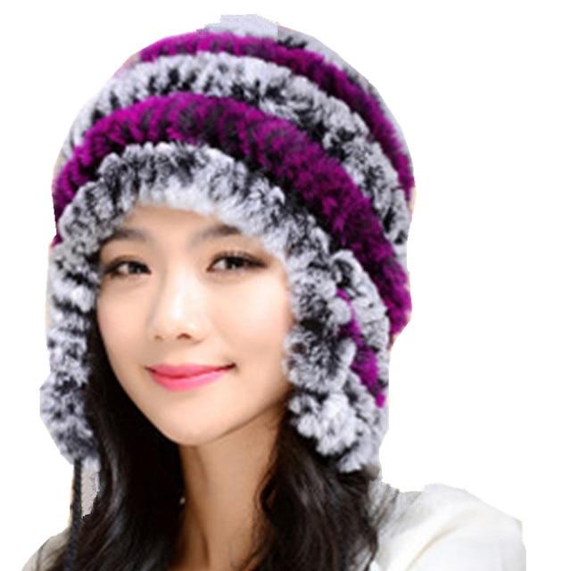 9c40aeb954c Rex rabbit hair plate fur hat Women s winter new all-flower Knit cap  fashion warm thick plush girls beanie accessory head wear