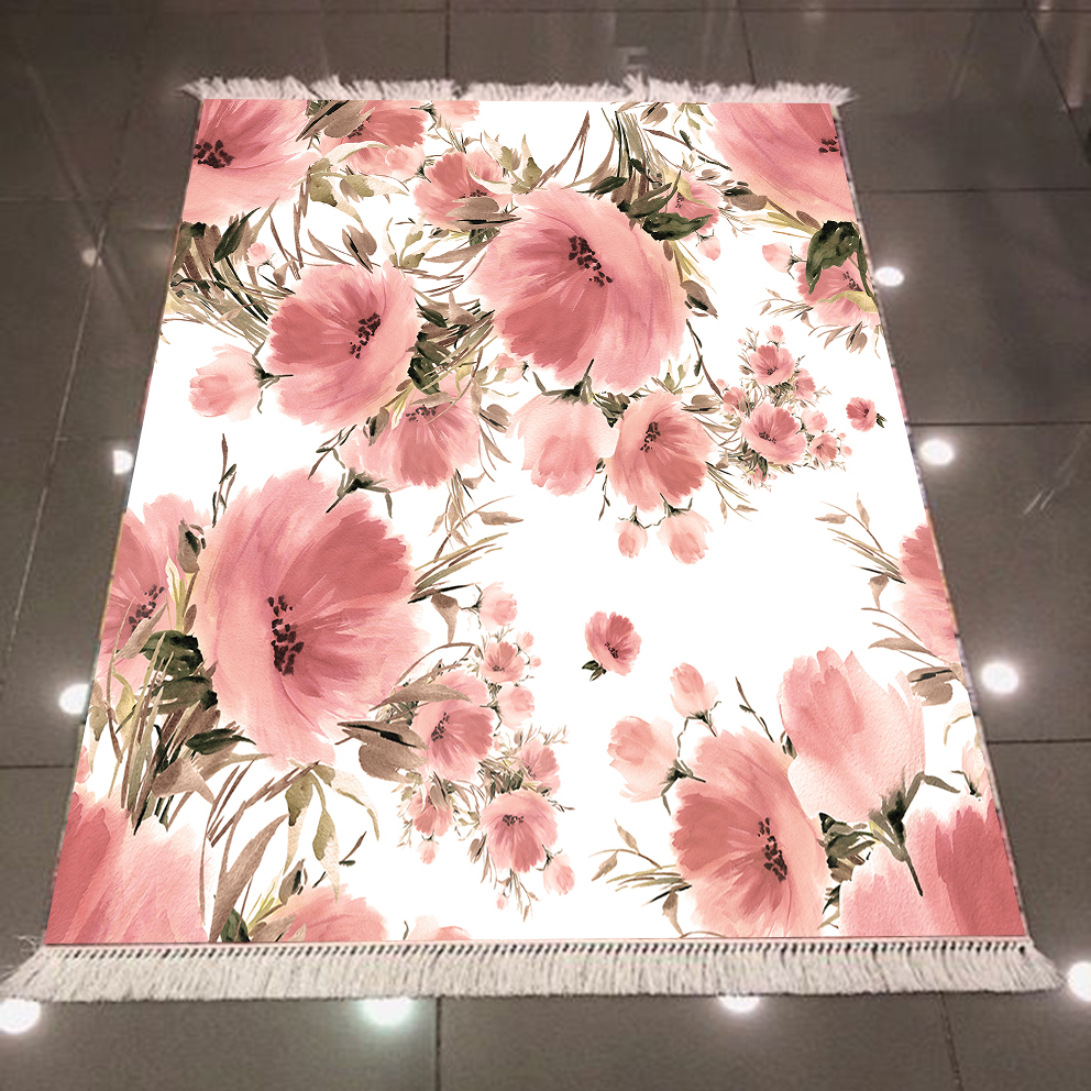 Else White Floor Watercolor Pink Flowers Green Leaf 3d Print Microfiber Anti Slip Back Washable Decorative Kilim Area Rug Carpet