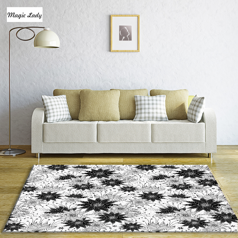 Living Room Modern Carpets In Black White Cornflower Blossoms Branches Leaves Floral Indian