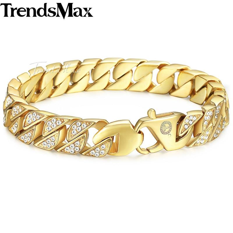 Trendsmax Hip Hop Iced Out Bling Full Rhinestone Men Bracelet Gold Stainless Steel Bracelet for Men Jewelry KHB476 opk biker stainless steel men bracelet