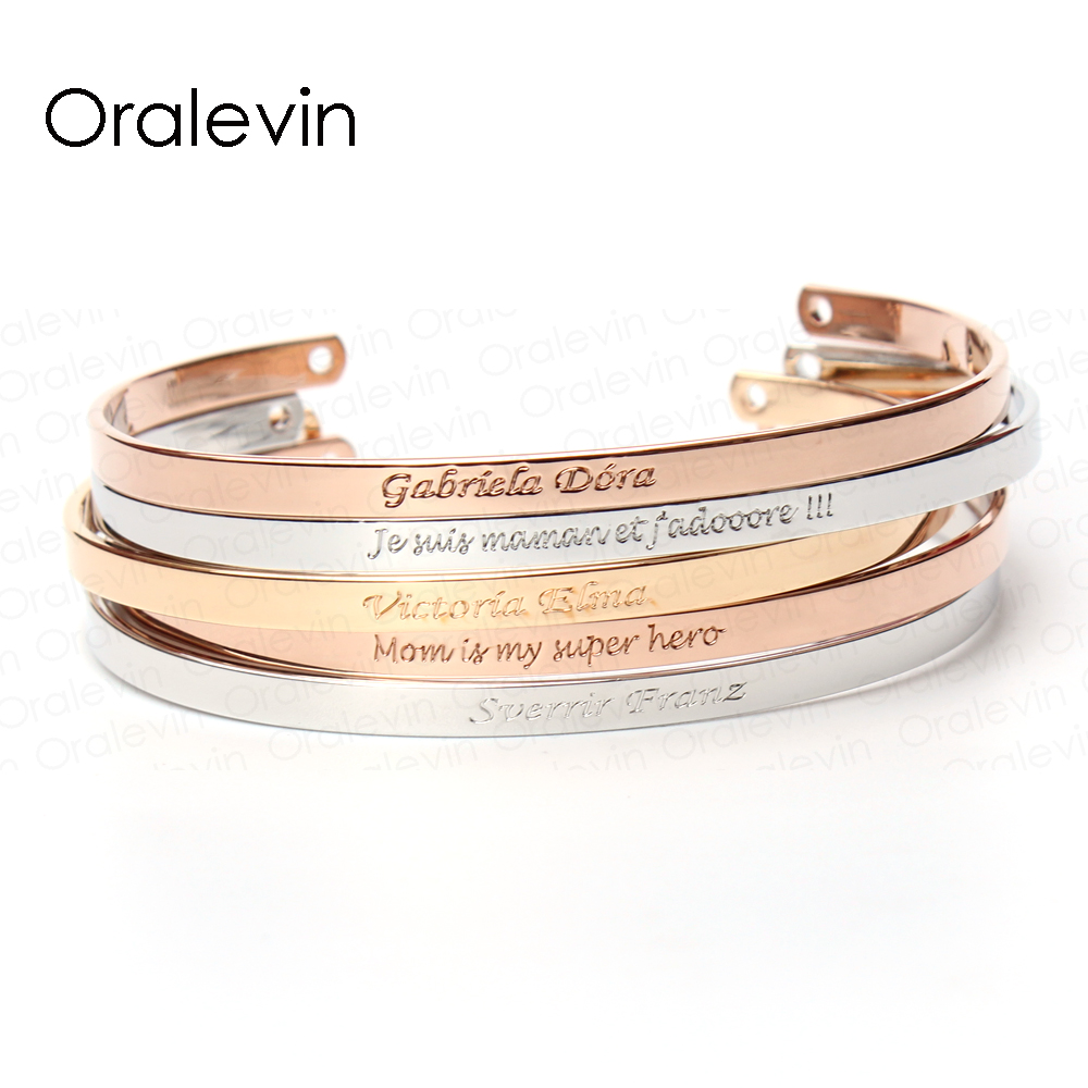 Inspirational Message Personalized Bracelet Initial Engraved Name Friendship Cuff Custom Bracelet Bangle For Women Gift Jewelry delicate double layered cuff bracelet for women