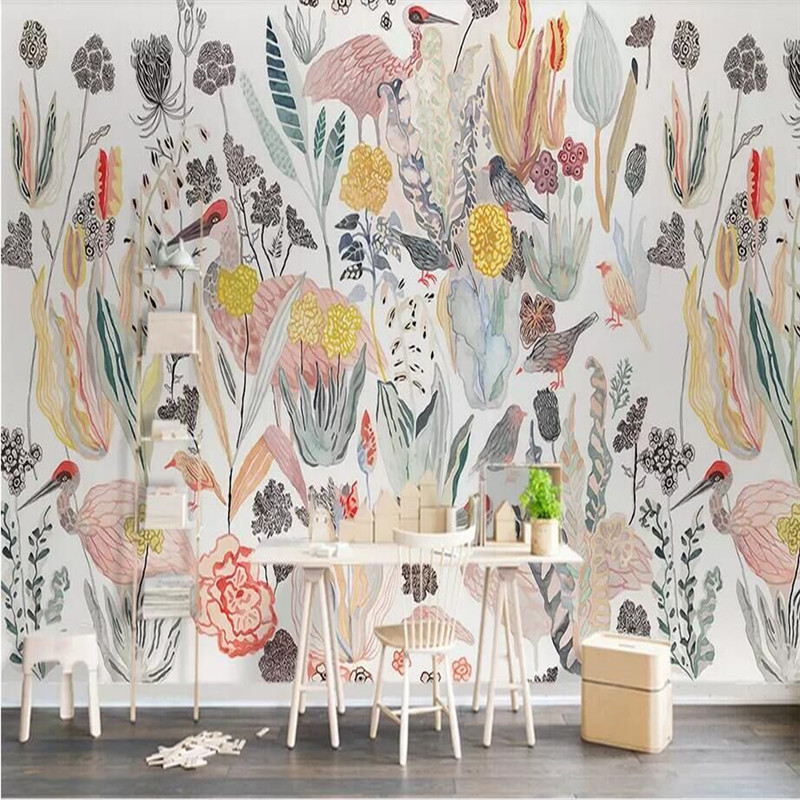 Nordic American Tropical Birds Background Wall Paper Manufacturer Wholesale Wallpaper Mural Custom Photo Wall custom nordic simple dandelion hand painted floral background wall paper decorative painting factory wholesale wallpaper mural c