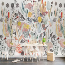 все цены на Nordic American Tropical Birds Background Wall Paper Manufacturer Wholesale Wallpaper Mural Custom Photo Wall онлайн
