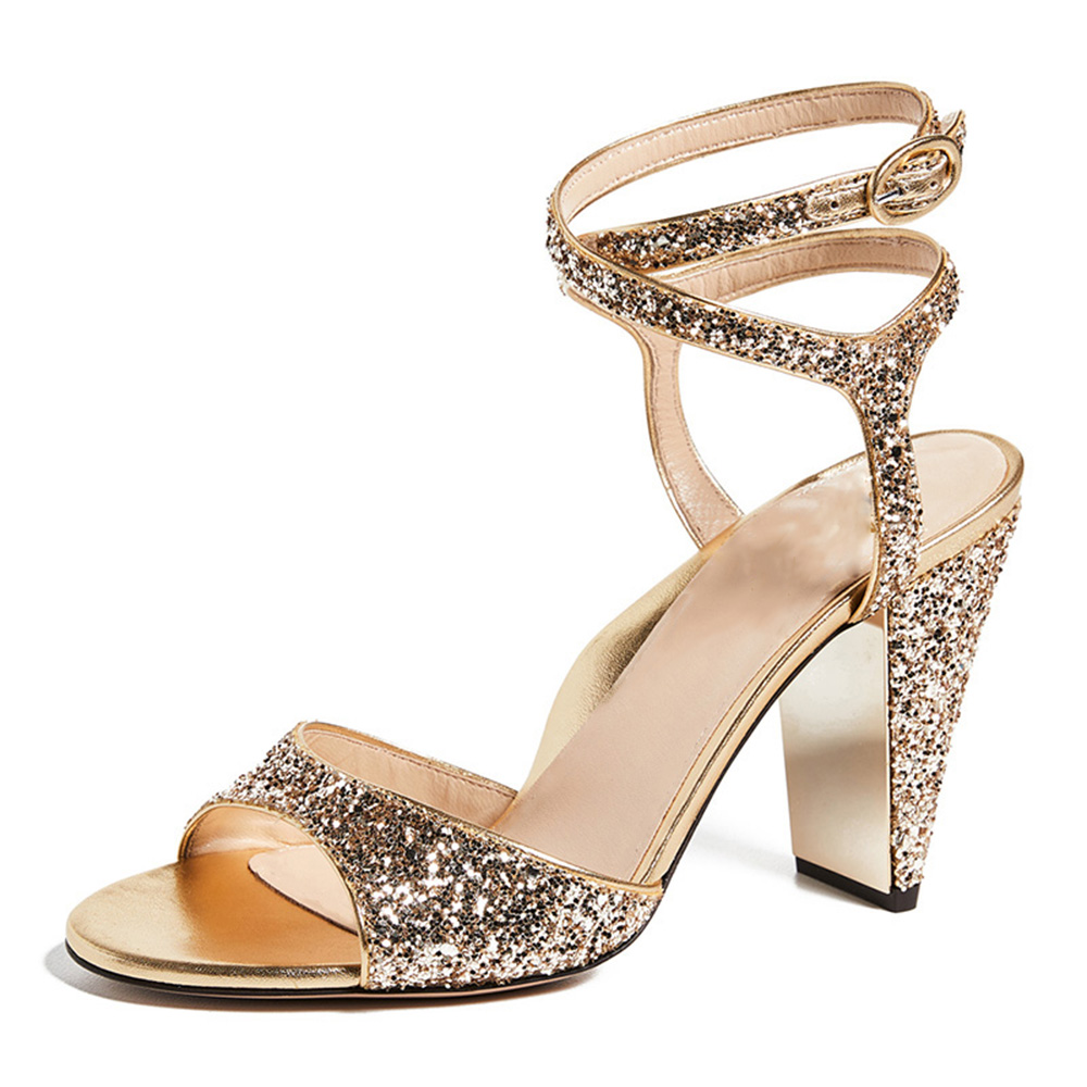 Original Intention Women Summer Sandals Gold  Sequined Cloth Solid Ladies Outside Bling Spike Heel Shoes Women US Plus Size 4-16