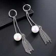 Women's Fashion Faux Pearl Metal Chain Tassels Long Dangle Earrings Jewelry