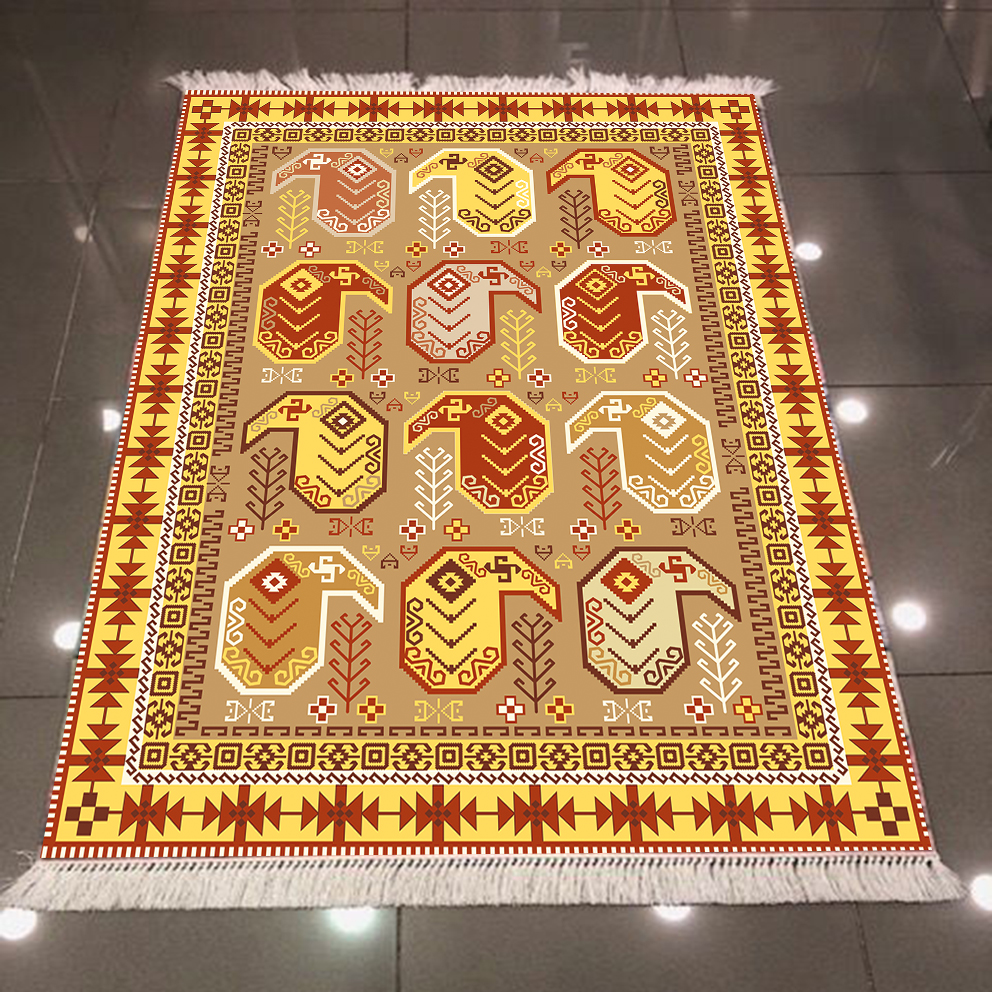 Else Eagypt Yellow Orange Brown Authentic Ethnic Design 3d Microfiber Anti Slip Back Washable Decorative Kilim Area Rug Carpet
