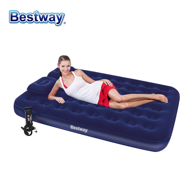 8536dbfe927a Bestway Inflatable Air Bed 2.03m x 1.52m x 22cm Flocked Queen Size Airbed  Blue Mattress with Air Pump
