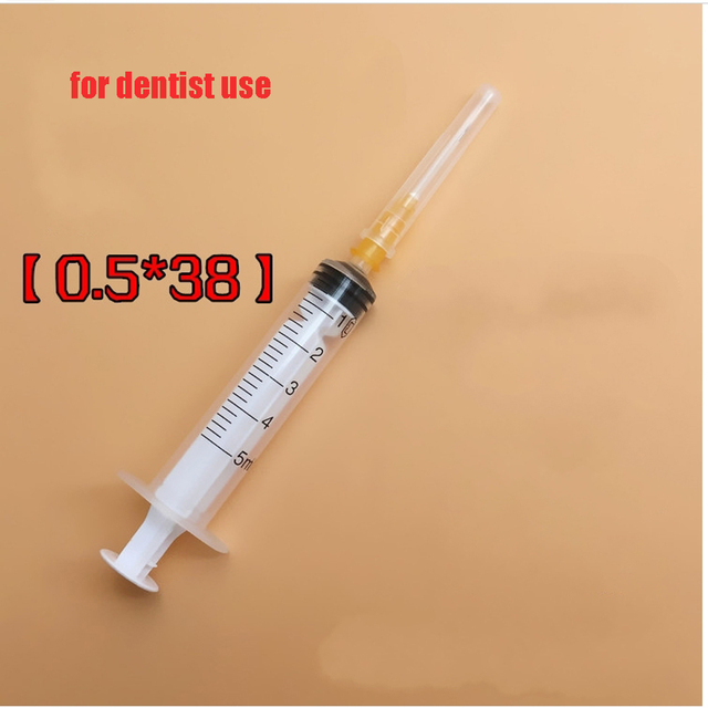 100 pcs Dental Disposable plastic syringe sterile needle tube independent packaging 5ml dentist needs