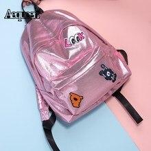 Aequeen Вышивка Рюкзаки Для женщин Голограмма лазерная милый школьный для студентов Колледж Bookbag кожа путешествия рюкзак для девочек Mochila