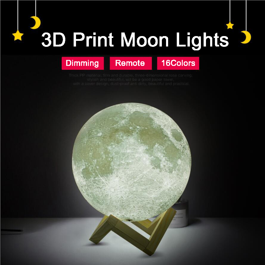 Rechargeable 3D Print Moon Lights 16 Colors Change Remote Control Bedroom Bookcase Night Lamps Home Decor Creative Gift magnetic floating levitation 3d print moon lamp led night light 2 color auto change moon light home decor creative birthday gift