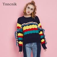 Ynncnik נשים סוודרים קשת פטרייה גל אופנה צבעונית בסוודרים סוודר סרוג O-צוואר בסגנון כוכבים שרוול ארוך Jumper S1020