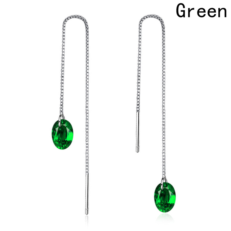Long Line Earrings Green Precious Stone Ball Female Charm Dangle Earring