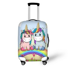 3D Cartoon Unicorn Pattern Print Travel Luggage Suitcase Protective  Cover Stretch Portable Covers