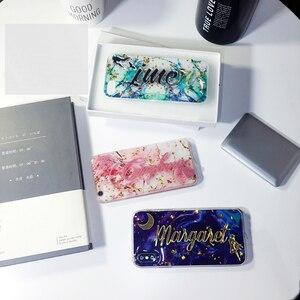 Image 5 - Funda de lujo para samsung galaxy s7, s8, s9, s10, note 8, 9, 10, nombre único personalizado, letras ostentosas, purpurina, escamas de mármol suave